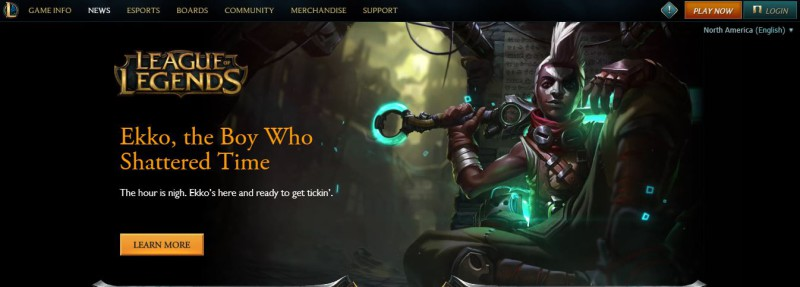 Game splash screen: League Legends