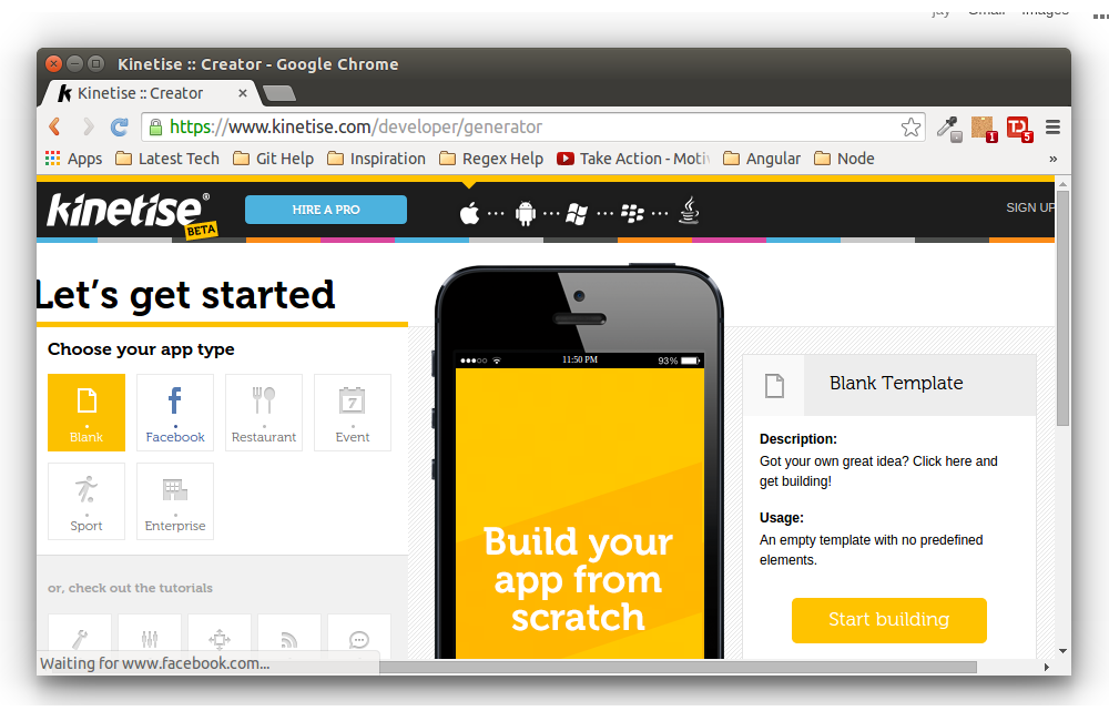 beautiful build app from website #3: You can start by selecting any particular app type or begin with an blank  template and click Start Building. On the next screen, you can see Kinetise  has ...