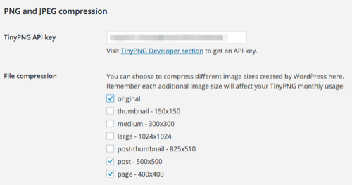 TinyPNG WordPress Plugin Configuration