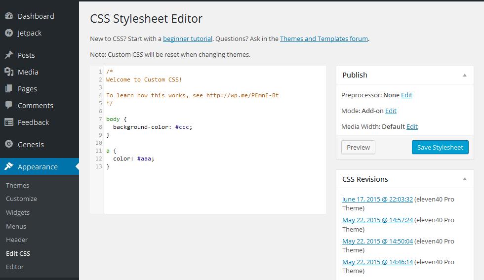 CSS Stylesheet Editor
