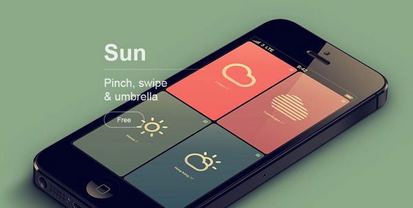 iPhone: Minimal weather app.