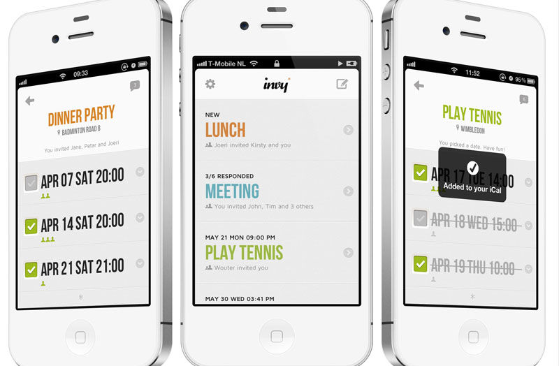 Three iPhone screens on the Invy Event Scheduling App