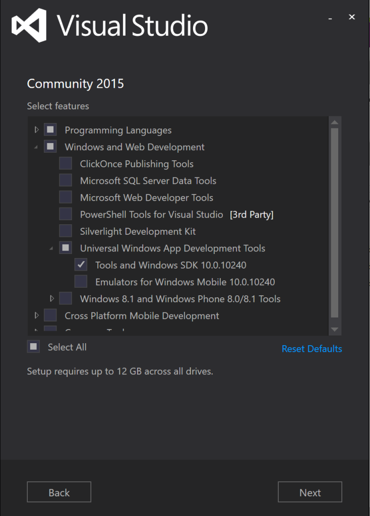 Choosing the right settings for Visual Studio and the IoT