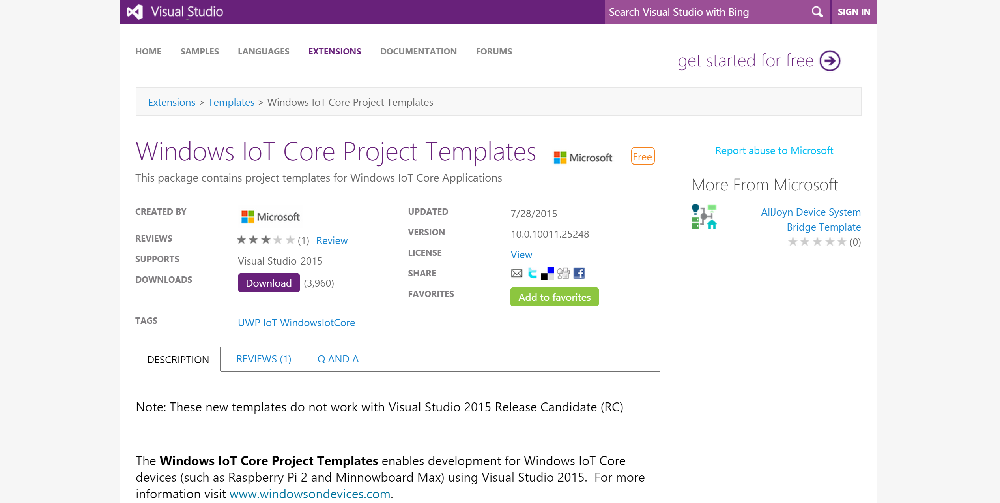 Downloading Visual Studio IoT Templates