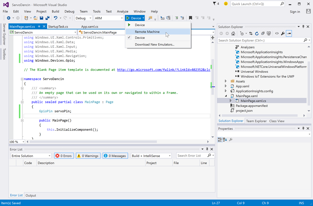 Add remote machine to Visual Studio