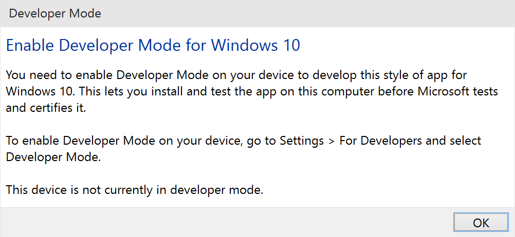 Developer Mode Required
