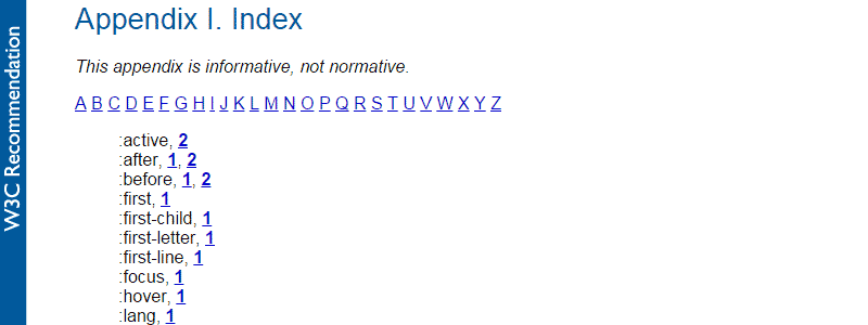 CSS 2.1 Index List