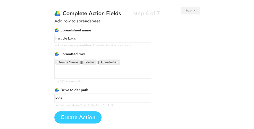 Google Spreadsheet Action Fields