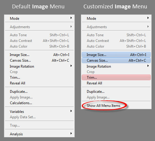 Customizing Photoshop's Default Menus