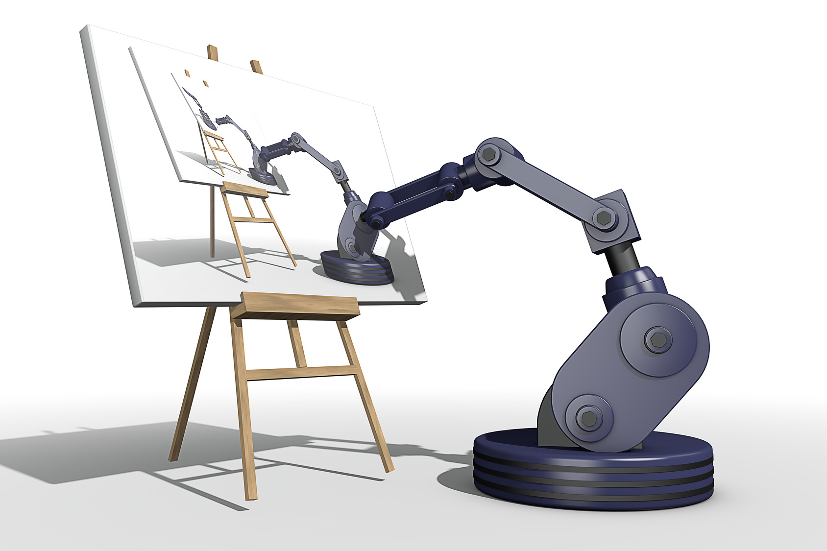 Robot drawing a robot drawing a robot