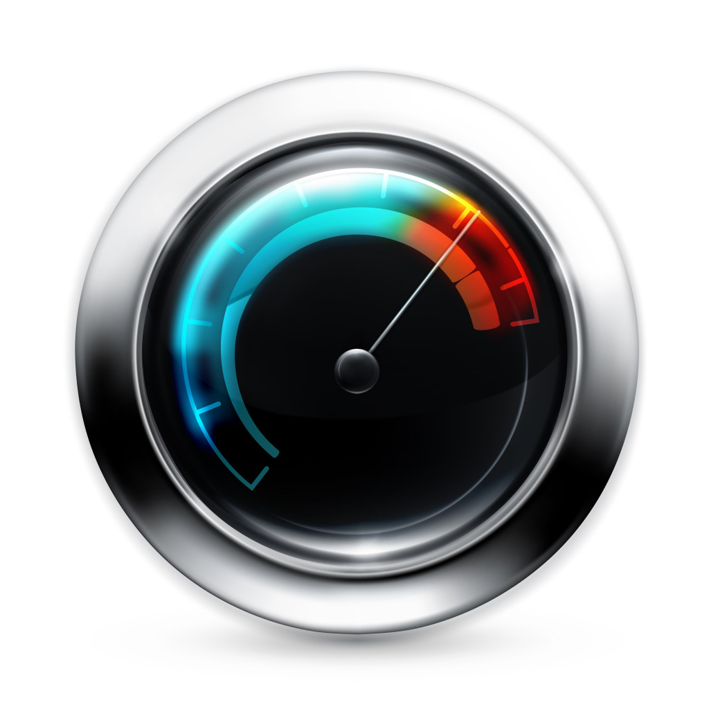 Vector illustration of gauge with pointer in the red, indicating speed