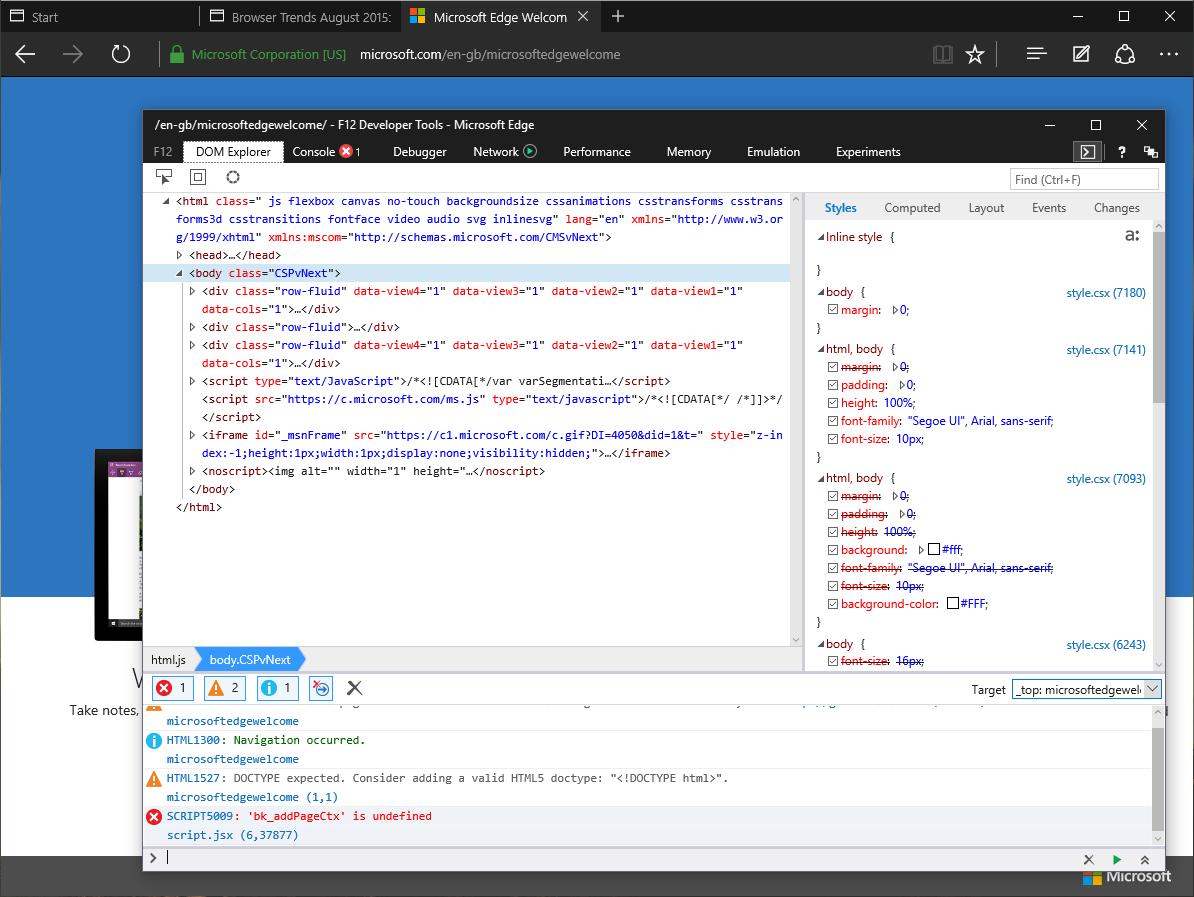 Microsoft edge the review sitepoint edge developer tools baditri Choice Image
