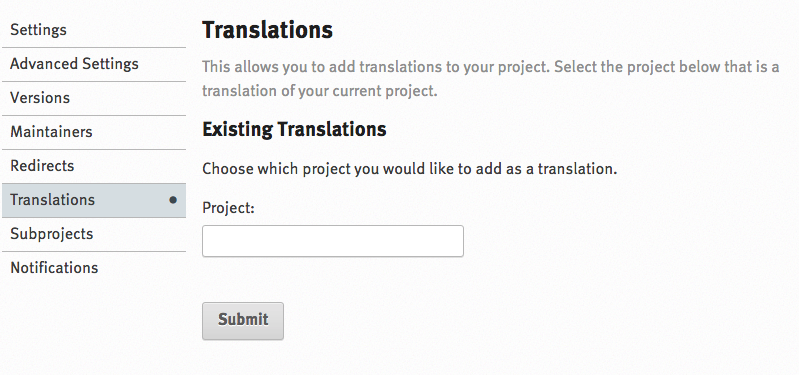 Translation settings screen in ReadTheDocs
