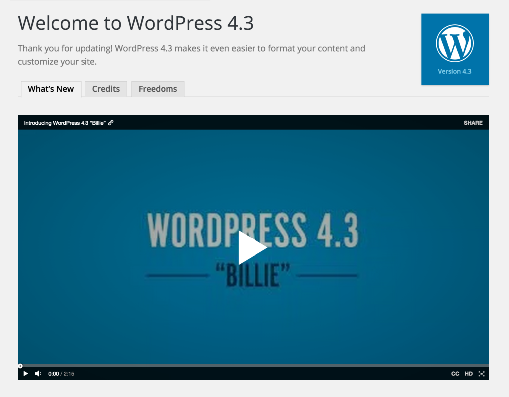 Welcome to WordPress 4.3 Screen