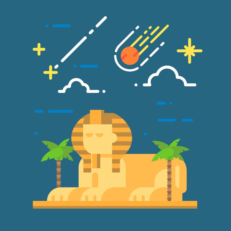 Sphinx at night vector illustration