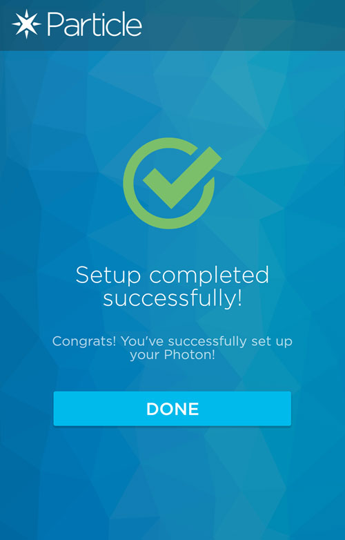 Photon Setup Completed Successfully Screen