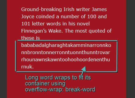 word-wrap with break-word value