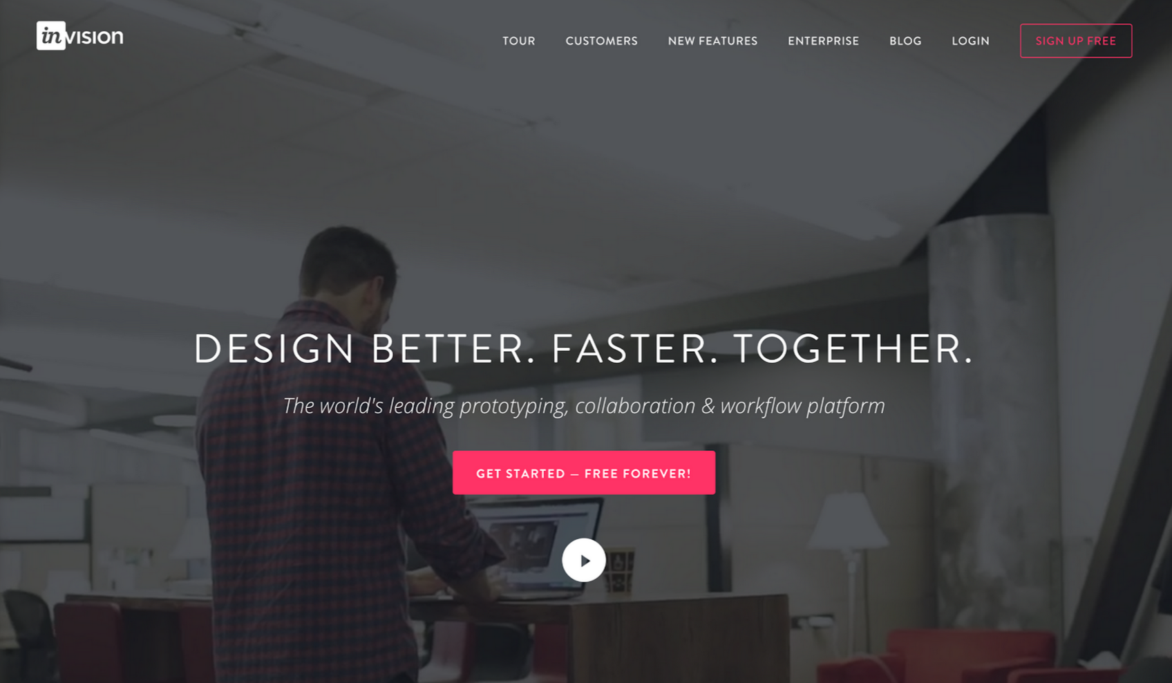 Invision uses a bright pink color for it's CTA.