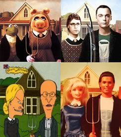 American Gothic parodies - The Muppets, Big Bang Theory, Beavis & Butthead & Barbie & Ken