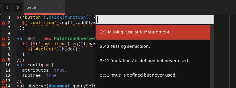 Sublime Text JSHint Screenshot