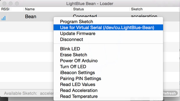 Setting LightBlue Bean to emit serial messages