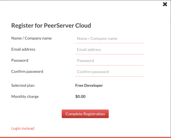 peerserver sign up