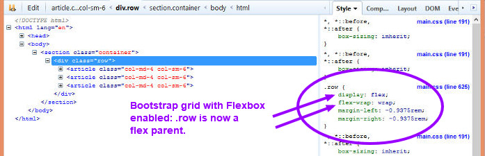 Bootstrap flex element