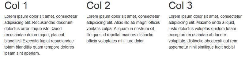 Display of Bootstrap regular three-column grid
