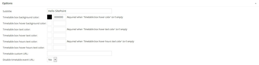 Responsive Timetable Plugin Colors