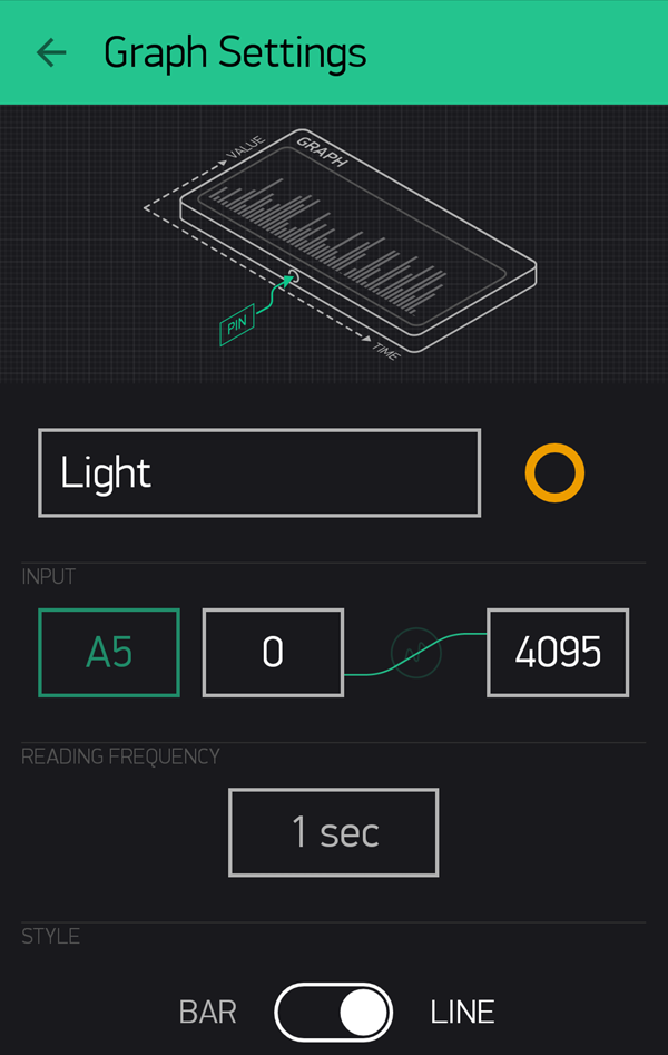 Editing the Blynk Light Widget