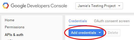 Add credentials screenshot