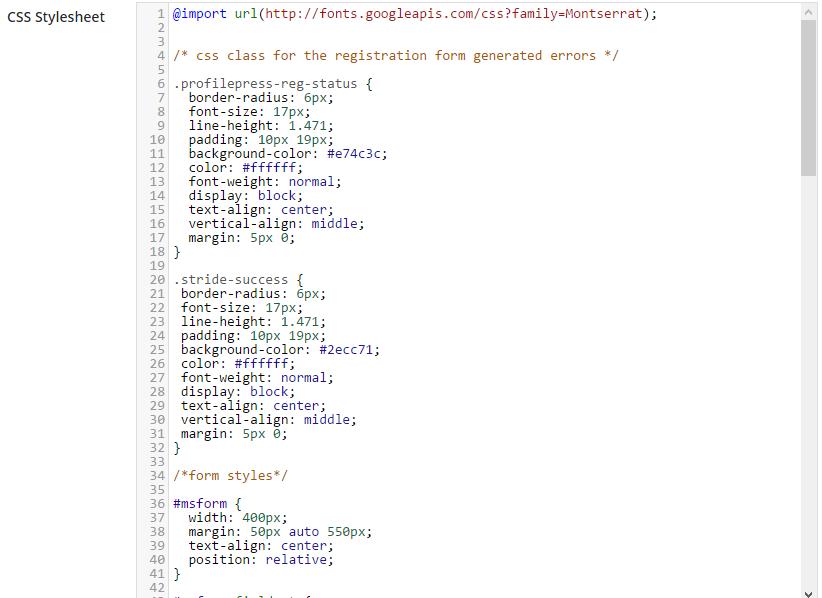 ProfilePress CSS code area