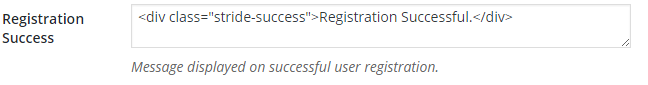 Notice displayed on successful user registration