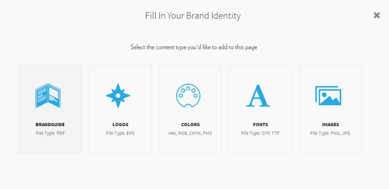 Screenshot: Fill in your brand identify