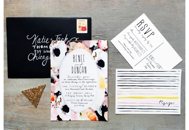 Wedding invitations (via Oh So Beautiful Paper)
