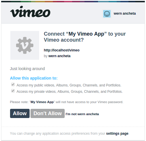 vimeo auth