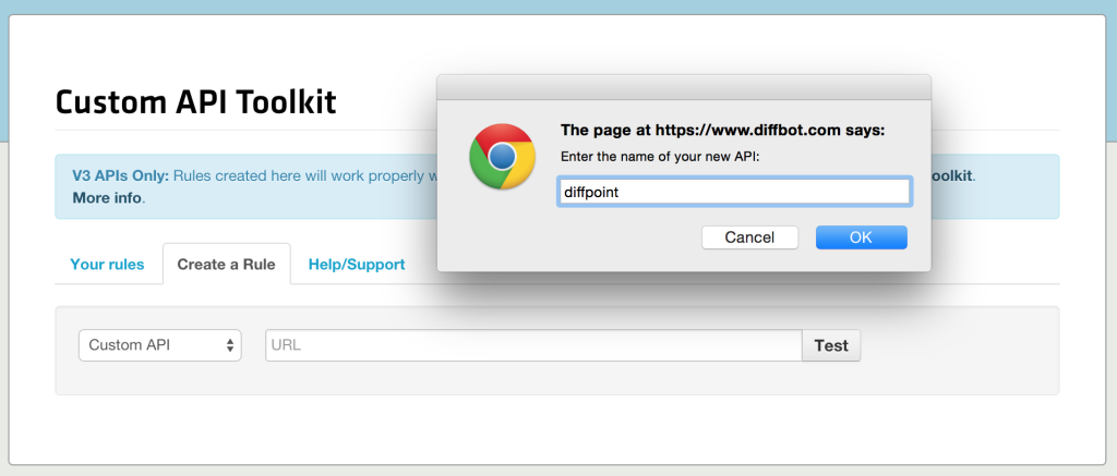 API creation screenshot