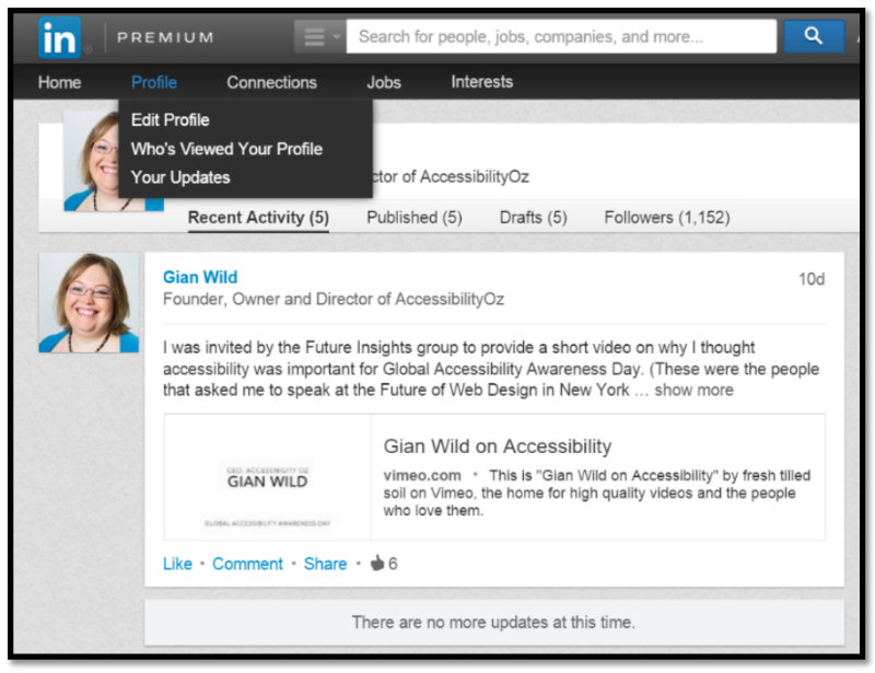 Screenshot: LinkedIn showing drop-down appears only on mouse hover or keyboard focus.""