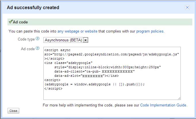 Asynchronous AdSense script
