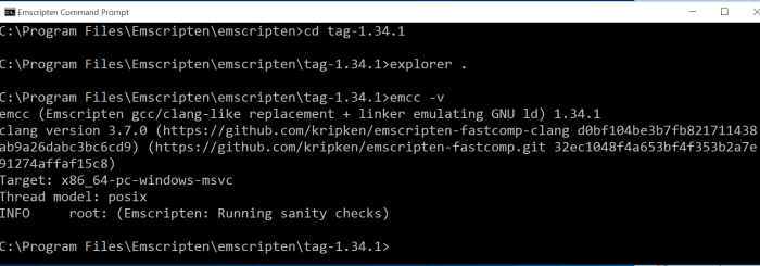 Emscripten Command Prompt