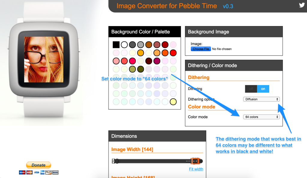 Image Converter creating an 64 color image