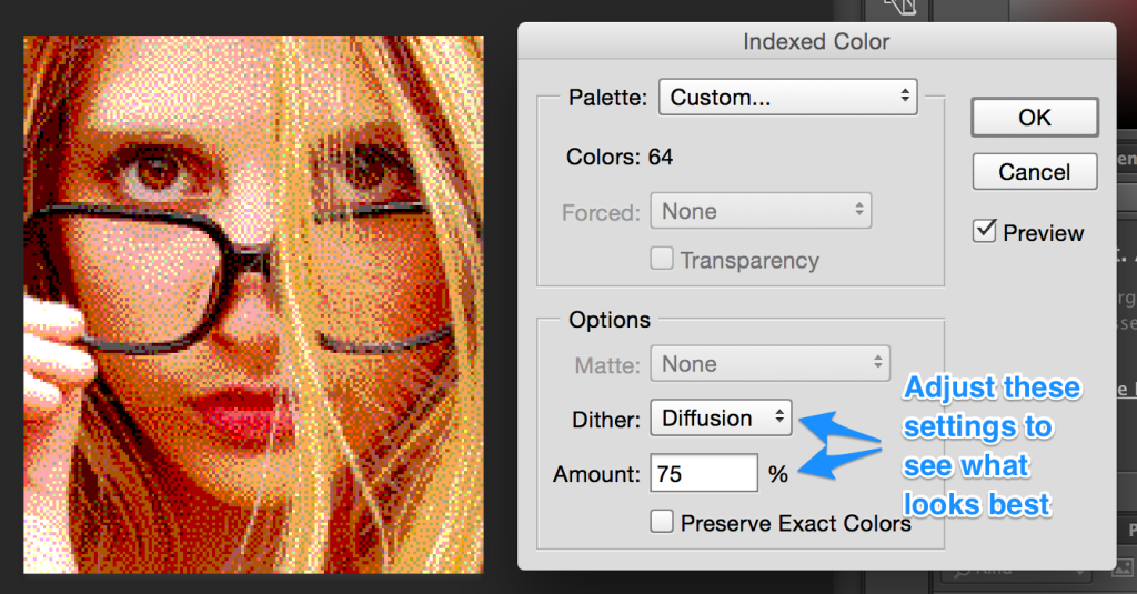 Photoshop's 64 color dither settings