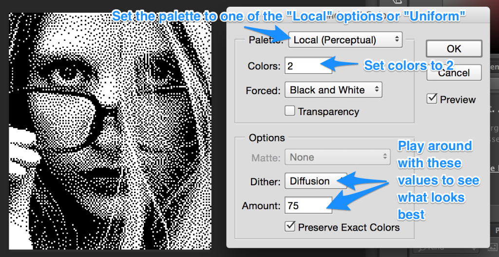 Photoshop's Black and White dithering settings
