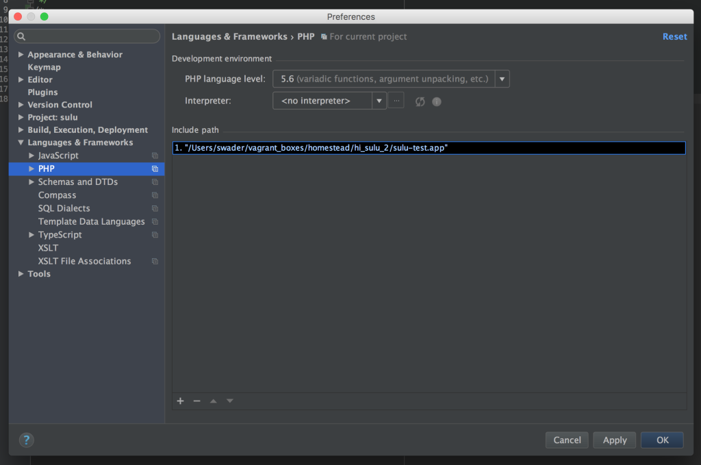 Include path in PhpStorm