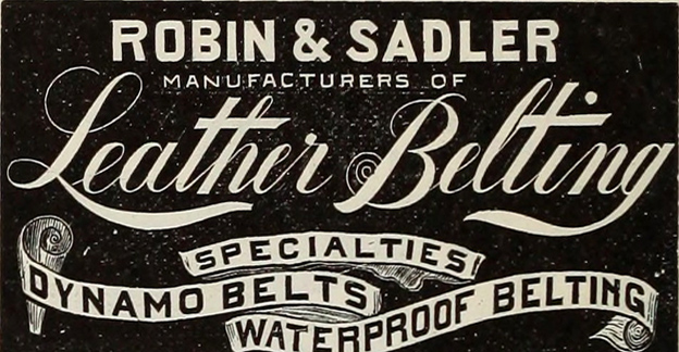 Robins & Sadler Leather Belting  label
