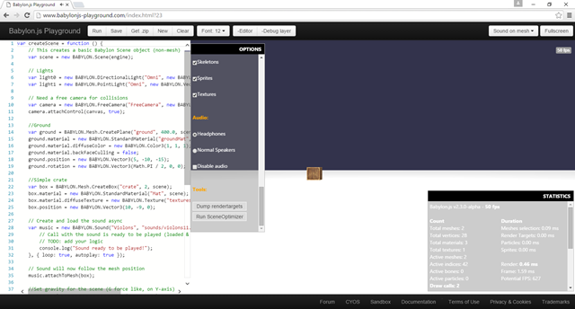Babylon.js playground debug layer