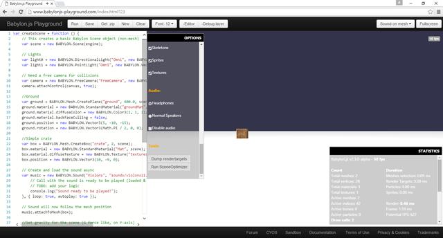 Babylon.js playground debug layer