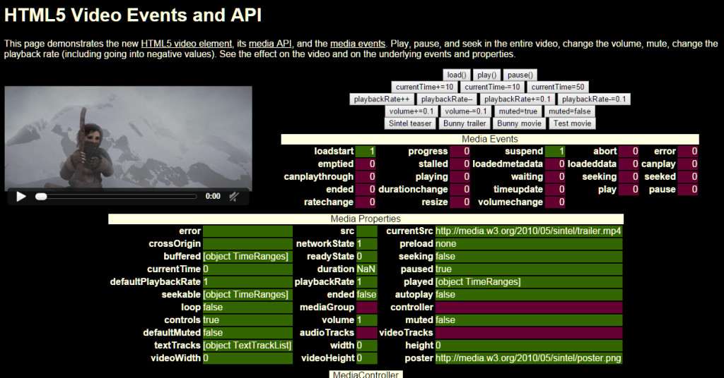 Screenshot of HTML5 Video Example page