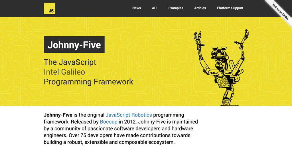 The new Johnny-Five website