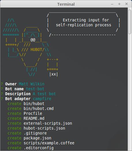 Screenshot of running Hubot generator